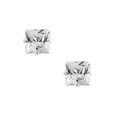 Chavin Gümüş 4 mm. Kare , Tek Taş Zirkon Küpe y95-4