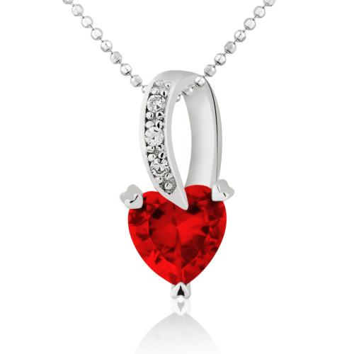 Chavin Zirkon Kalp Taşlı 0,03 carat Pırlantalı Gümüş Kolye cc82