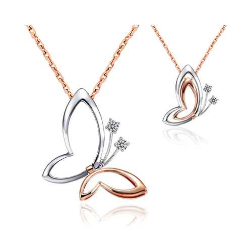 Chavin 2 Şekilli Taşlı Kelebek Gümüş Bayan Kolye cs04