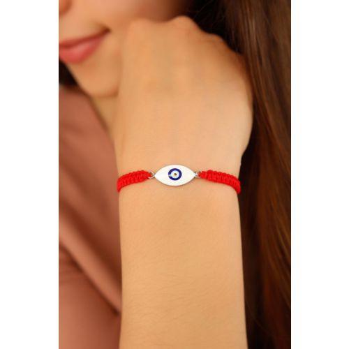Kırmızı İp Tasarımlı Nazar Boncuk Detaylı Bayan Bileklik Modeli