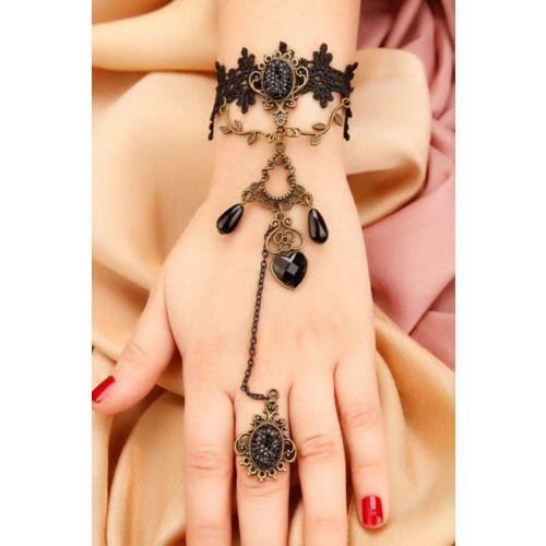 Siyah Simli Parlak Taş Tasarımlı Dantel Detaylı Bayan Şahmeran Modeli