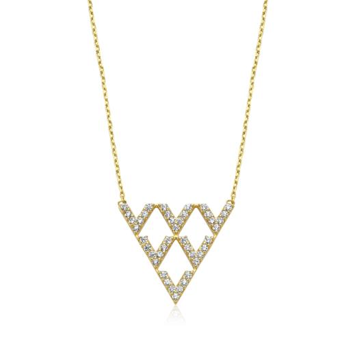 Diva Pırlanta 14 Ayar Altın Geometrik Şekilli Taşlı Kolye
