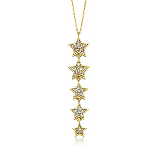 Diva Pırlanta 14 Ayar Altın Yıldız Taşlı Kolye