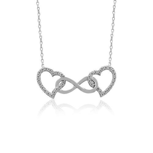 İndigo Takı Beyaz Çift Kalpli Sonsuzluk Gümüş Kolye
