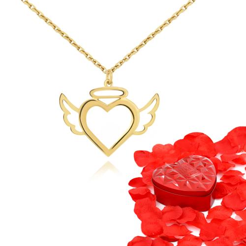 Chavin Kalp, Meleğim Bayan Altın Kolye ve Gül Yaprağı cs86