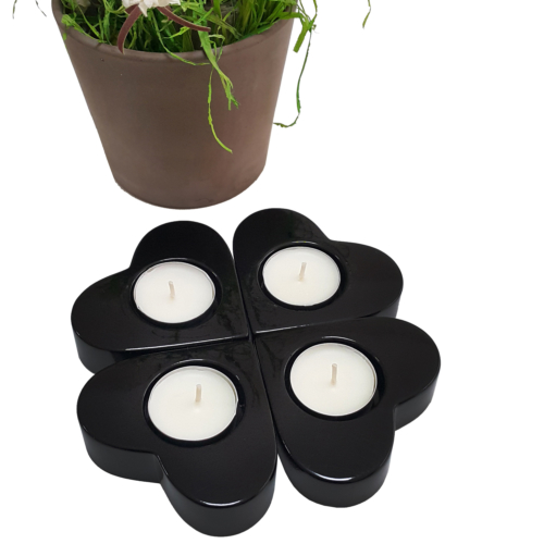 Chavin 4 Adet Siyah Kalpli Polyester Tea Light Mumluk de18