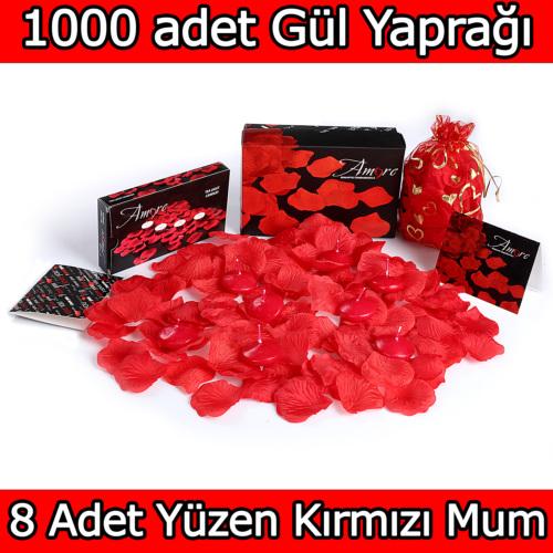 Chavin 1000 Adet Gül Yaprağı, Gül Yaprakları,8 Kırmızı Mum yap6