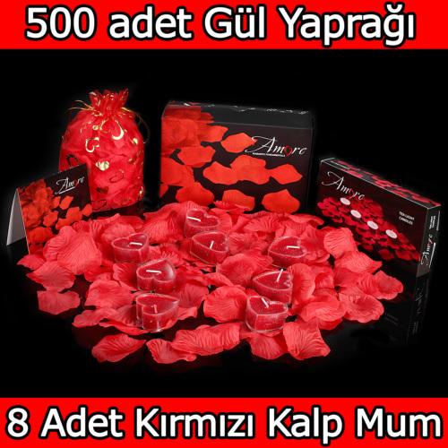 Chavin 500 Adet Gül Yaprağı, Gül Yaprakları,Kırmızı Kalp Mum yap7