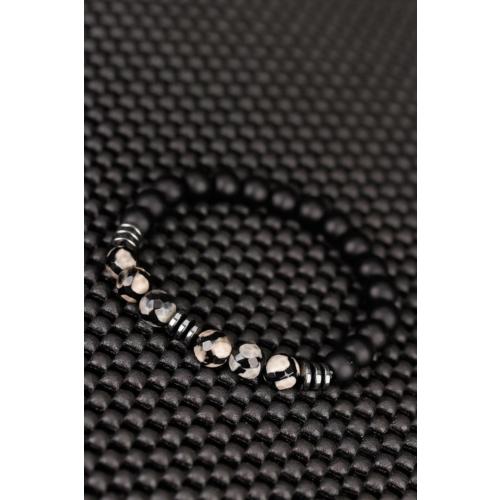 Çınar E-Ticaret Desenli Jasper Ve Siyah Mar Oniks Doğal Taş Tasarımlı Erkek Bileklik