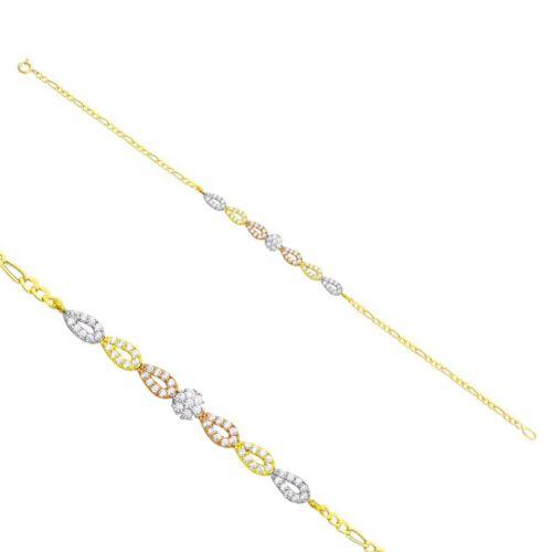 Melis Gold Altın Taşlı Zincirli Bileklik Zb000178