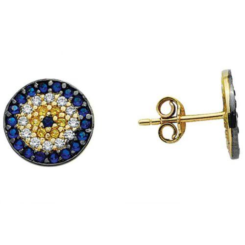 Melis Gold Altın Taşlı Nazar Bocuklu Küpe Kp000068
