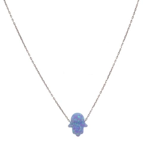 Affix Silver Gümüş Mor Opal Taşlı Fatma'nın Eli Kolyesi