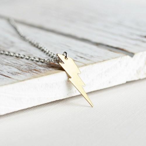 Crystal Baby Özel Tasarım Şimşek İşareti 925 Ayar Gümüş Kolye