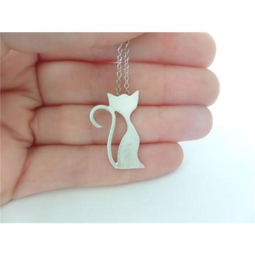 Crystal Baby Gümüş Özel Tasarım Kedi Kolyesi
