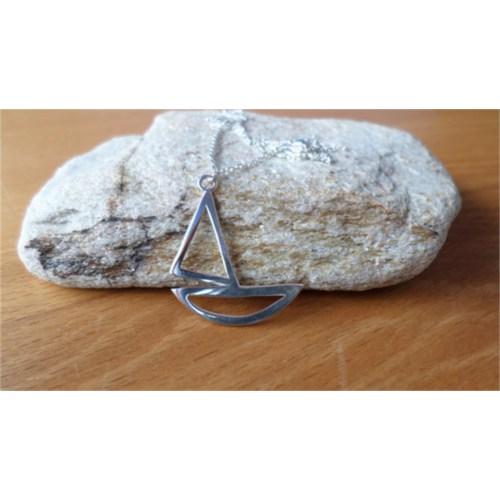 Crystal Baby Gümüş Özel Tasarım Yelkenli Kolyesi