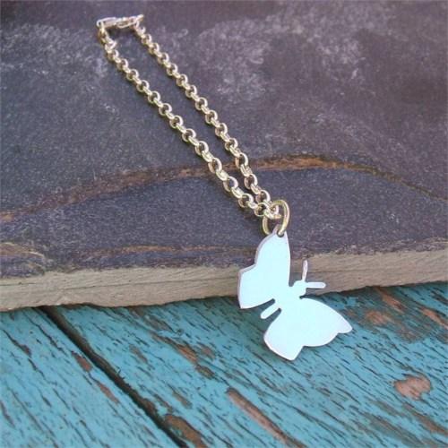 Crystal Baby Gümüş Özel Tasarım Kelebek Kolyesi Yeni