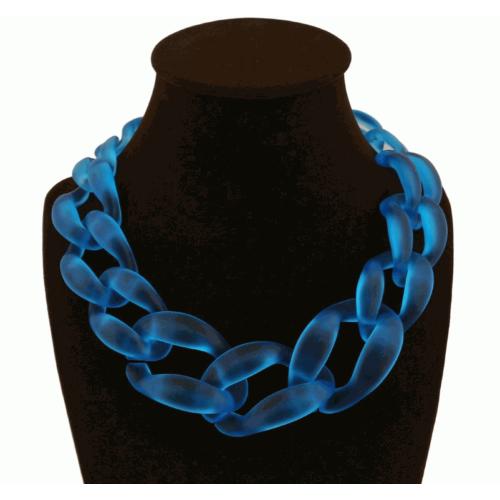 Moda Takı Neon Mavi Geometrik Tasarım Gerdanlık Zincir Kolye