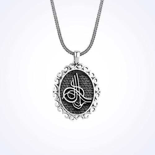 Mina Silver Motifli Osmanlı Tuğrası Taşsız Gümüş Erkek Kolye