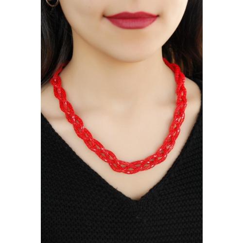 Çınar E-Ticaret Kırmızı Renkli Metal Hasır Tasarım Örgü Detaylı Kadın Kolye Modeli