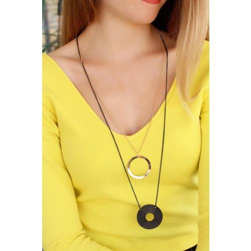 Çınar E-Ticaret Sarı & Siyah Zincir Metal Tasarımlı Kadın Kolye