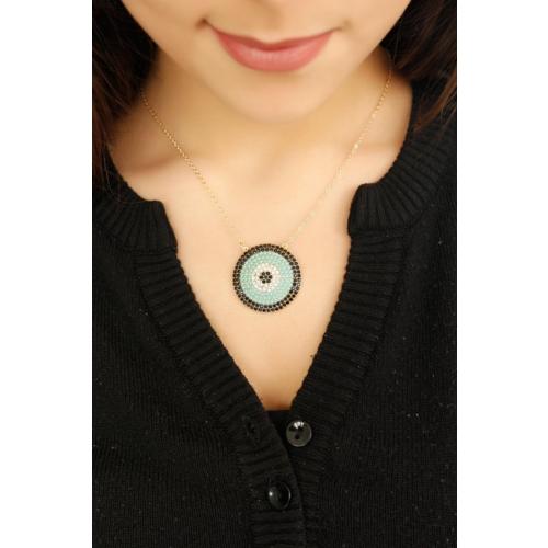 Çınar E-Ticaret Mint Mavisi Taşlı Siyah Detaylı Kadın Kolye