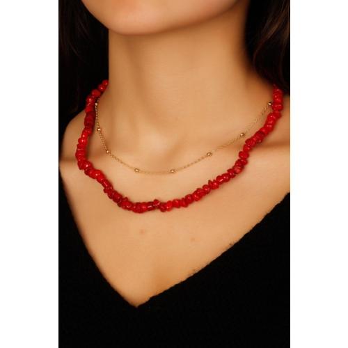 Çınar E-Ticaret Sarı Zincir & Kırmızı Boncuk Tasarımlı Kadın Kolye Modeli