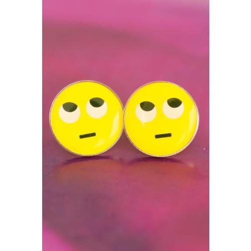 Çınar E-Ticaret Emoji Tasarımlı Düşünceli Yüz İfadeli Sarı Yuvarlak Kadın Küpe Modeli