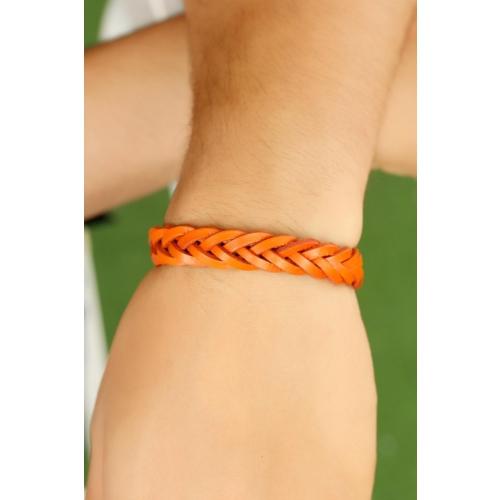 Çınar E-Ticaret Turuncu Renk Örgü Tasarımlı Deri Erkek Bileklik