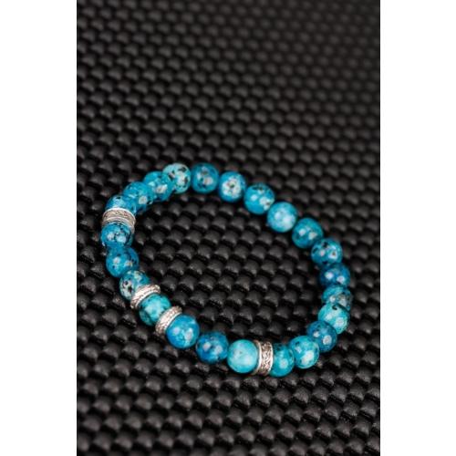 Çınar E-Ticaret Turkuaz Renk Jasper Doğal Taş Tasarımlı Erkek Bileklik
