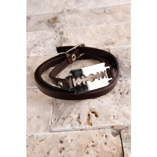 Çınar E-Ticaret Kahverengi Deri Dolamalı Üzeri Çelik Tasarım Erkek Bileklik