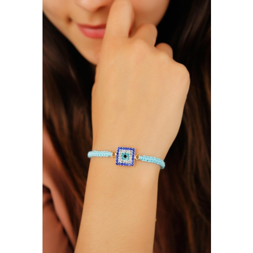 Çınar E-Ticaret Açık Mavi İp Tasarımlı Kare Kristal Taşlı Kadın Bileklik Modeli