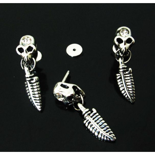 Cadının Dükkanı 316L Cerrahi Çelik Tüy Sallantılı Kurukafa Kulak Piercing