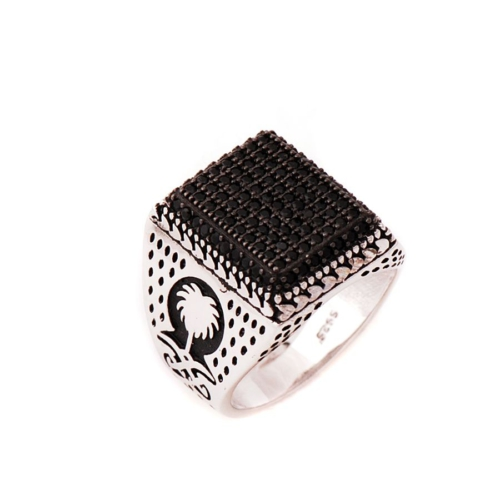 Sümer Telkari Siyah Safir Taşlı Tasarım Gümüş Yüzük 635