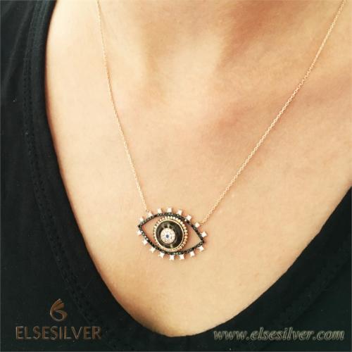 Else Silver Siyah Göz Gümüş Kolye