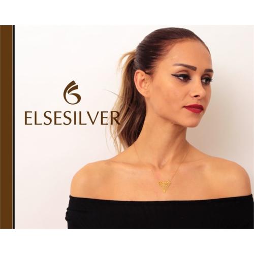 Else Silver Elmas Plaka Kolye