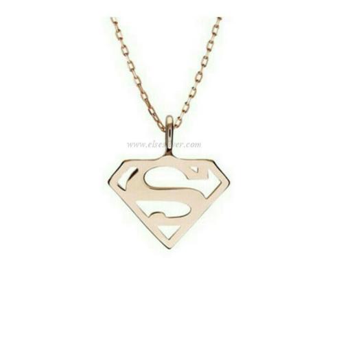 Else Silver Süpermen Kolye