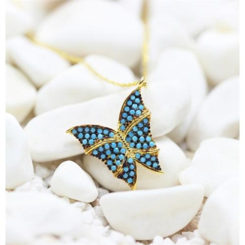 Else Silver Firuze Taşlı Sarı Kelebek Kolye