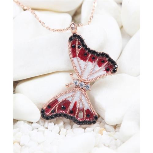 Else Silver Kırmızı Bahar Kelebeği Kolye