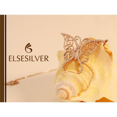 Else Silver Rose Kelebek Kolye