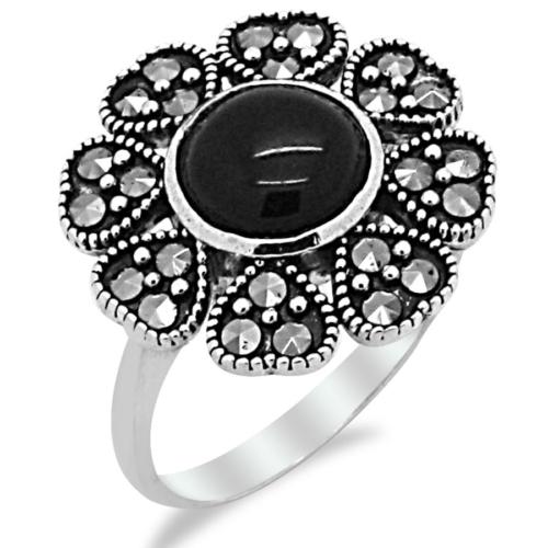 Tesbihci Dede Çiçek Tasarım Markazit Taşlı Gümüş Bayan Yüzük