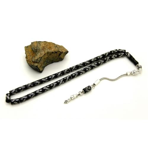 Tesbihci Dede Çift Zigzag Gümüş İşlemeli Kesme Model Erzurum Oltu Taşı Tesbih