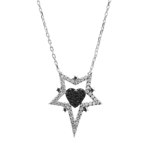 Tesbihci Dede 925 Ayar Gümüş Yıldız İçinde Kalp Tasarım Zirkon Taşlı Kolye