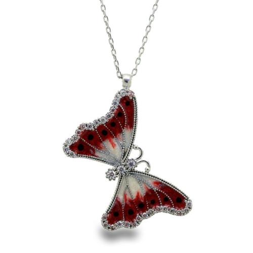 Tesbihci Dede 925 Ayar Gümüş Beyaz Noktalı Kırmızı Kelebek Kolye