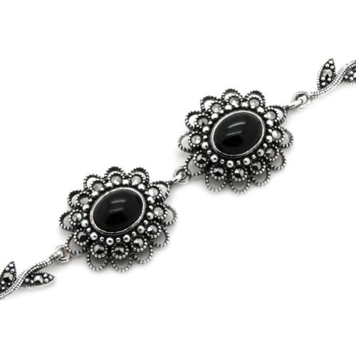Tesbihci Dede Yaprak ve Çiçek Tasarımlı Oltu Taşı Gümüş Bayan Bileklik