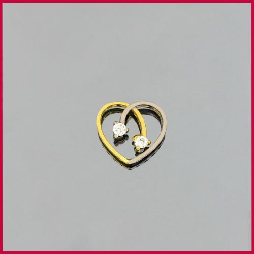 Tuğrul Kuyumculuk Yeşil - Beyaz Altın Taşlı Kalp Kolye Ucu