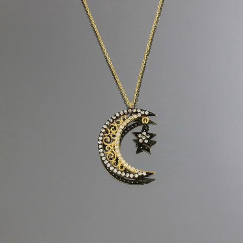 Tuğrul Kuyumculuk Ay Yıldızlı Taşlı Altın Kolye