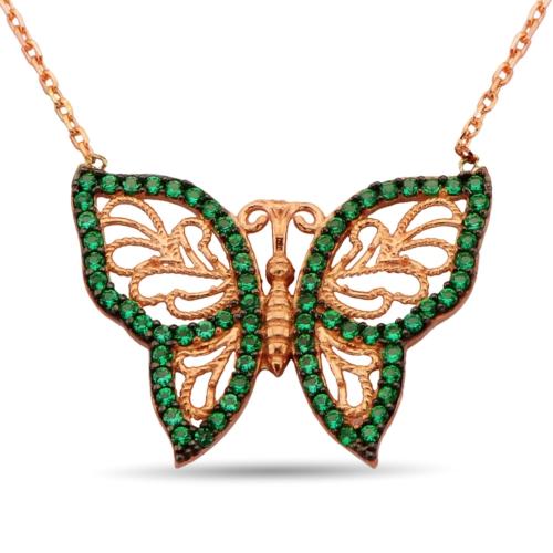 Argentum Concept Yeşil Zirkon Taşlı Gümüş Kelebek Kolye