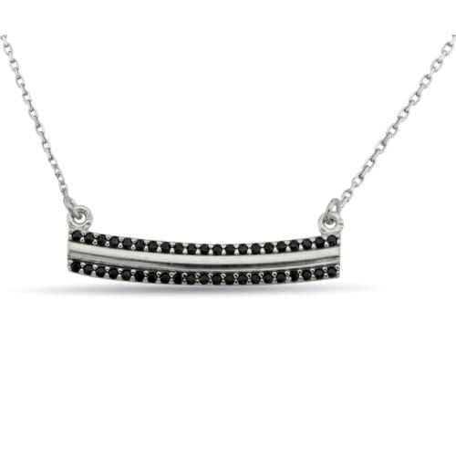 Argentum Concept Siyah Taşlı Modern Gümüş Kolye