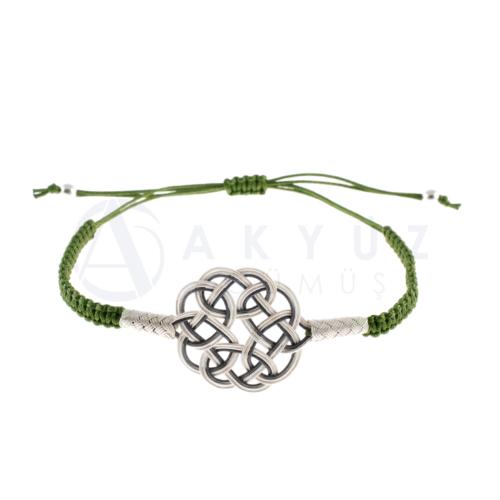 Akyüz Gümüş Yeşil İpli Ayarlanabilir Kazaziye Gümüş Bileklik