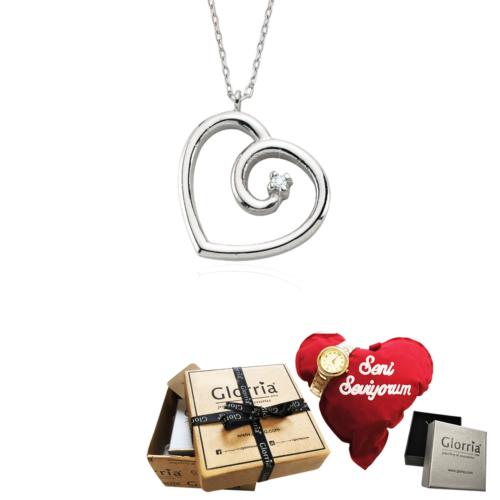 Glorria Gümüş Pırlantalı Kalp Kolye - Hediye Seti